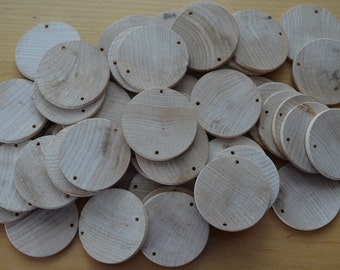 Unfinished woodend discs,  predrilled,  1 1/2 in x 1/8 inch, Wooden circles, Perfect for Birthday boards, Family Boards & DIY projects