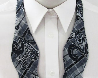 Mens Bow Tie Black Gray Silver Bold Paisley Tapestry Pattern On Plaid Self Tie Bow Ties