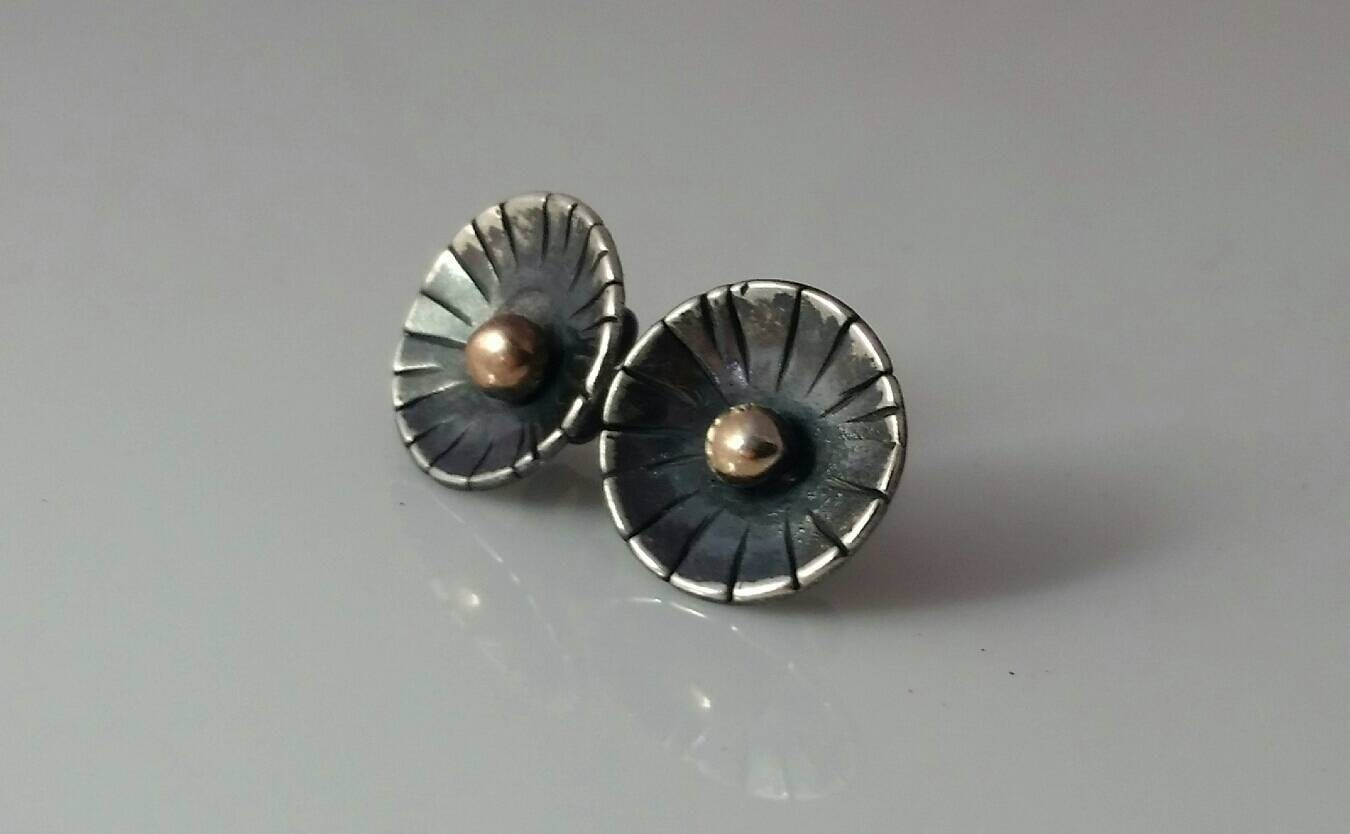 gold stud earrings 14 k gold and sterling silver handmade