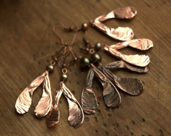 Double maple seed pearl earrings,electroformed natural seeds,copper electroforming,botanical jewelry, boho style, electroplated, electroform