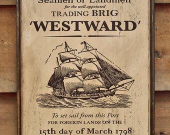 Rustic wooden sign 'Westward'