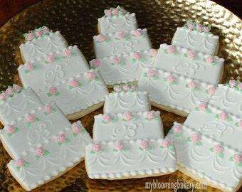 Monogram Wedding Cake Sugar Cookie -- 12 Rolled Decorated Sugar Cookies