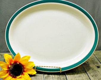Shenango Platter, Restaurant Platter, Green Band Dish, Diner Serving Platter, Restaurant Dishes, Restaurant Ware, Diner Dishes, Retro Dish