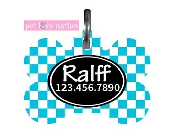 Personalized Pet Tag, Dog Tag, ID Tag, Blue Check Pet Tag With Name And Phone Number