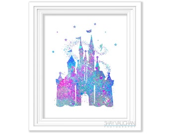 Cinderella S Castle Art Print Tinkerbell Art Castle Poster Nursery Decor Wall Art Painting Children S Room Wall