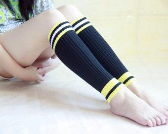 Womens Black Knit Boot Socks, Womens Knit High Socks, Womens Boot Socks, Girls Boot Socks, Knitted Knee Socks Womens Leg Wamers zjb 1142