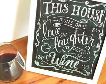 Kitchen Print, Kitchen Quote, Wine Quote, Kitchen Chalkboard, Wine Print,  Chalk