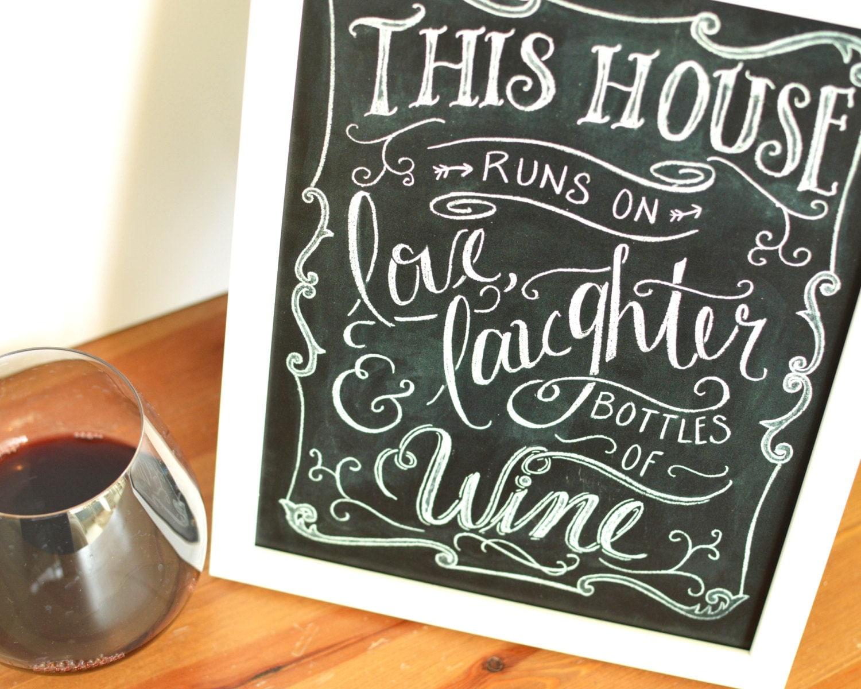 Kitchen print kitchen quote wine quote kitchen chalkboard for Wine chalkboard art