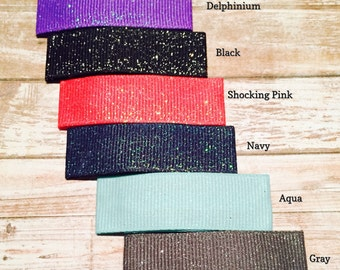 NEW!!! Large snap clips w/dazzle glitter ribbon in choice of 14 colors