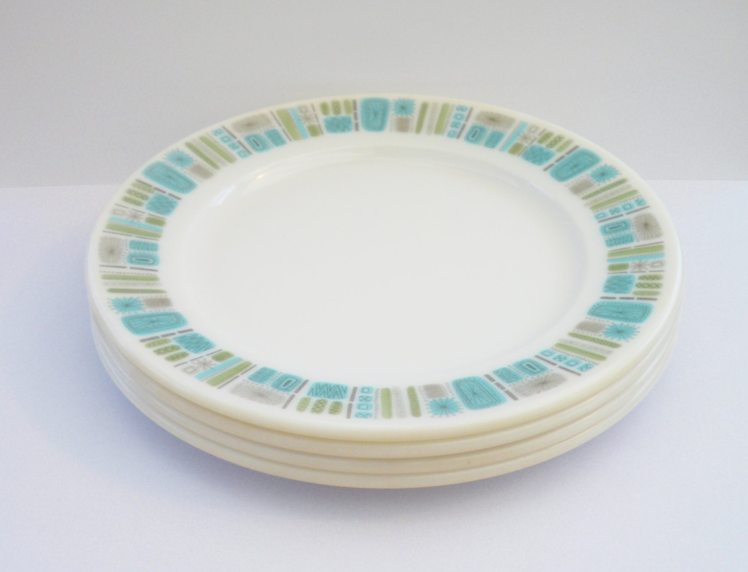 Set Of 4 Vintage Melamine Plate Turquoise And Olive Colour : turquoise melamine dinnerware - pezcame.com