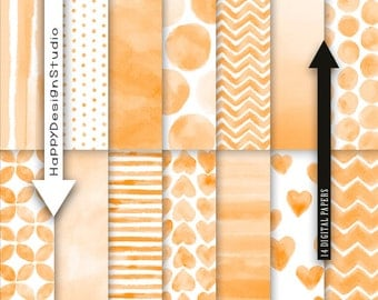 "Orange watercolor digital paper pack 12""x12"" commercial use instant download dot heart chevron scrapbooking background printable pattern"