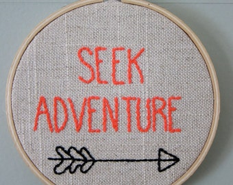 "Hand Embroidered 4"" Hoop Wall Art w/ ""Seek Adventure"" Quote/Saying with Arrow on Tan/White Linen"