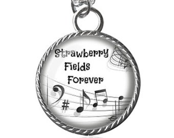 Beatles Necklace, Song, Strawberry Fields Forever Pendant Key Chain Handmade