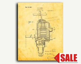 Patent Print - Electric Drill Patent Wall Art Poster