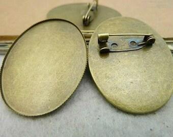 Wholesale 20pcs Handmade Oval Lace Border Brooch/Pin/Breast Pin Pendant Trays  -30mmx40mm Bezel Cabochon Settings - Pendant Tray Blanks