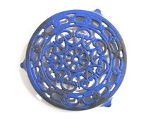 French Blue Trivet - Painted Cast Iron - 1970 - Made in Taiwan - Classic French Kitchenware - French Chabby Chic