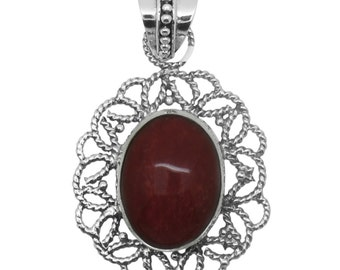 Sponge Coral Oval Pendant without Chain in Sterling Silver Nickel Free TGW 14.00 Cts.