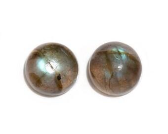Malagasy Labradorite Loose Gemstones Set of 2 Round Cabochon 1A Quality 8mm TGW 2.85 cts.