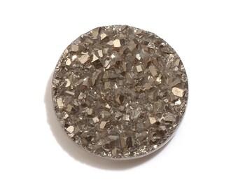 Platinum Drusy Quartz Round Cabochon Loose Gemstone 1A Quality 11mm TGW 2.15 cts.