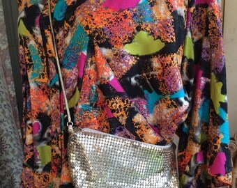 Vintage Lyrella silver tile evening crossbody handbag