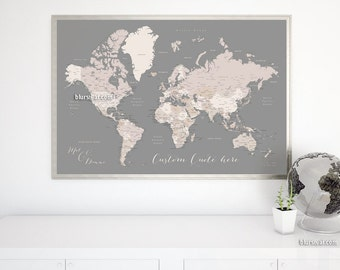 Custom quote - PRINTABLE world map with countries, capitals, cities, US states. World map poster, gift for him. Premade color map Map141 055