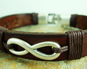 Custom Bracelet, Mens Personalized Bracelet, Men's leather bracelet, Men Bracelet,  Brown leather , infinity symbol.Hidden Message Bracelet.