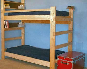 heavy duty solid wood custom made triple bunk bed twin size. Black Bedroom Furniture Sets. Home Design Ideas
