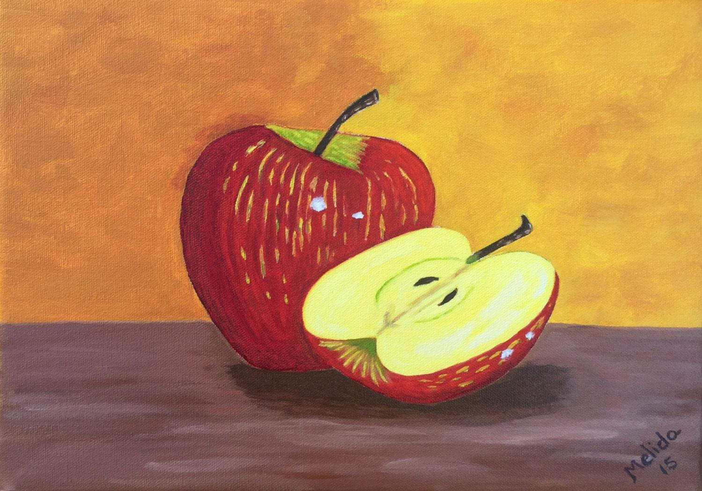 Original Apple Painting Kitchen Decor Fruit Painting Oil