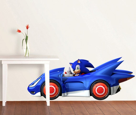 Sonic the hedgehog race car decal removable wall by printadream - Sonic wall decals ...