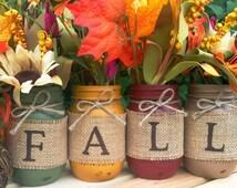 Set of 4 Fall Mason Jars, Autumn, Home Decor, Fall Decor, Thanksgiving, Centerpiece, Fall Wedding, Farmhouse, Fall, Country, Burlap, Harvest