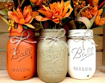Set of 3 Hand Painted Mason Jars, Autumn, Home Decor, Fall Decor, Thanksgiving, Centerpiece, Fall Wedding, Thanksgiving, Fall, Halloween