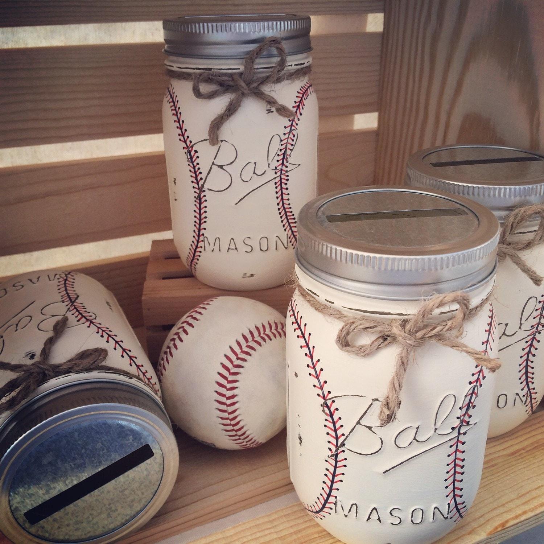 Hand Painted Baseball Mason Jar Bank Baby By