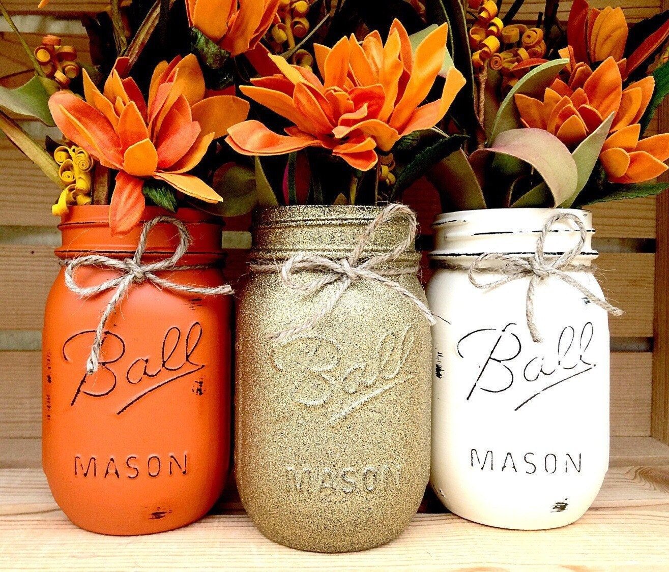 Set of 3 Hand Painted Mason Jars Autumn Home Decor Fall