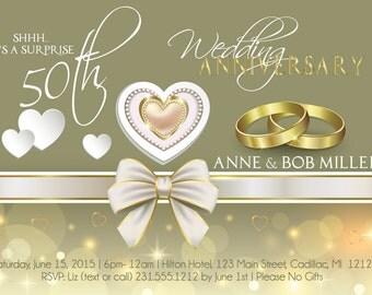 Romantic Wedding Anniversary Invitation - 50th Wedding Anniversary Party Invitation - 50th Anniversary Card with Hearts & Wedding Rings