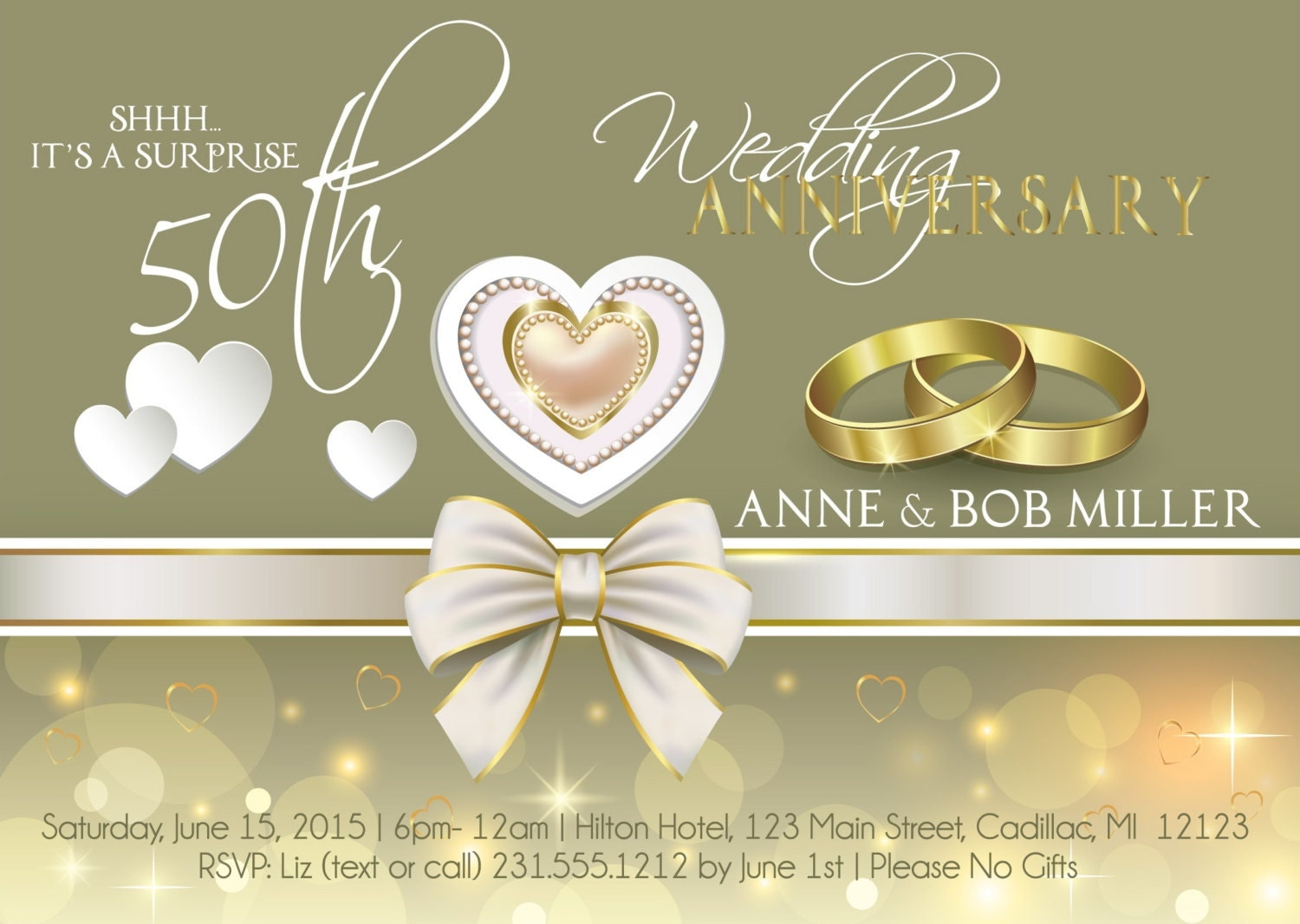 Romantic Wedding Anniversary Invitation 50th Wedding