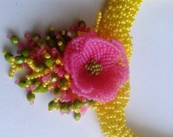 Handmade necklace in yellow rosa green olive colours, Beadweaving, Beadwork; seed bead Flower