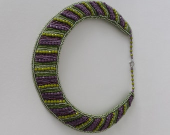Bead embroidery necklace lila green oliv; beaded necklace;