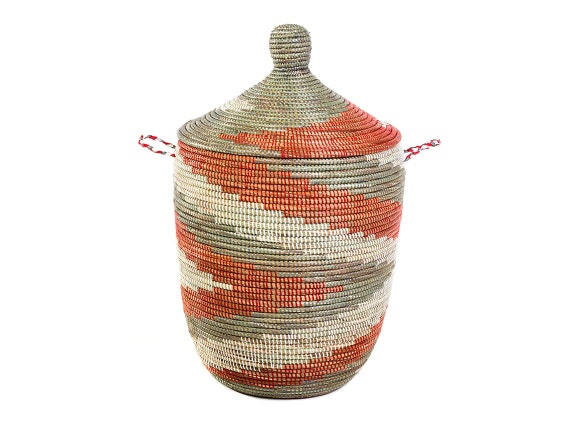 african laundry basket with lid tribal red by swahilimodern. Black Bedroom Furniture Sets. Home Design Ideas