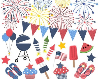 80% OFF SALE Fourth of July Clipart, Fireworks Clipart, Independence Day Clipart, Fourth of July Clip Art, Red, White, Blue