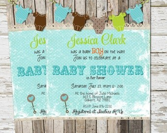 Rustic,  Boy Baby Shower Invitation, Invite, Wood, Shabby, Printable, Customize, 5x7