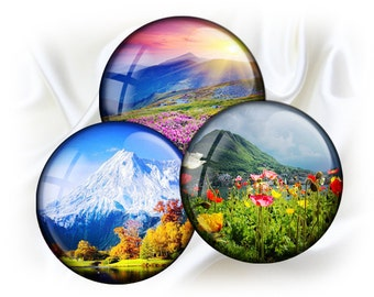 Mountain landscapes - 1,5'' circles rounds graphics for scrapbooking, stickers, Digital collage sheet, 25 Images File 8,5 x 11
