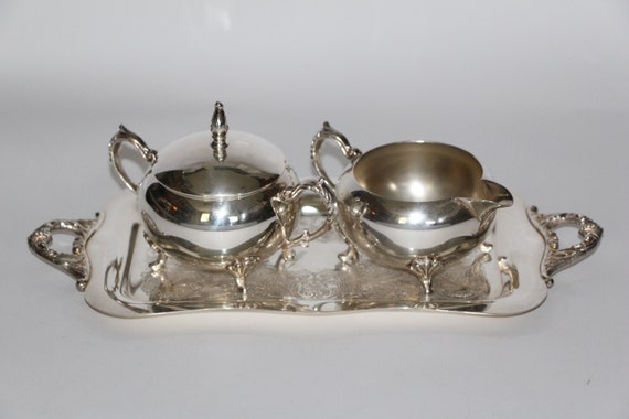 Sheridan Silver on Copper Creamer Covered Sugar Under Tray