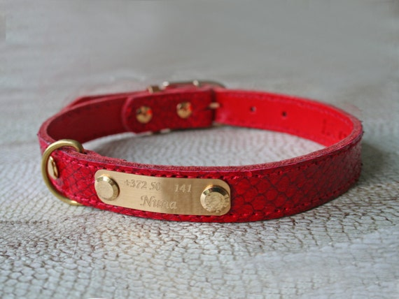 Genuine leather dog collar fish leather personalized by for Fish dog collar