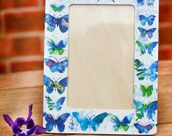 Romantic Blue butterfly photo frame, Decoupaged photo frame, Hand decorated frame, Wooden photo frame