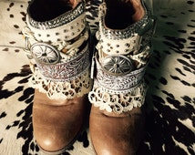 Custom Upcycled boots cowboy vintage boots gypsy festival boho Christmas winter coachella burning man rocker western biker wedding shoes