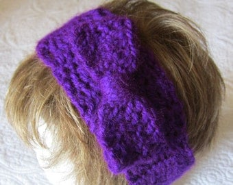 Crochet Headband,Headband,Headwrap,Headband with Bow,Head Warmer,Purple Headband,Bow,Wide Headband,Hair Accessories,Purple Headwrap,Gift