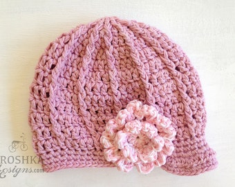 Handmade crochet Newsboy Sara hat, crochet baby cap, crochet baby hat, baby shower gift, cotton baby hat, MADE TO ORDER