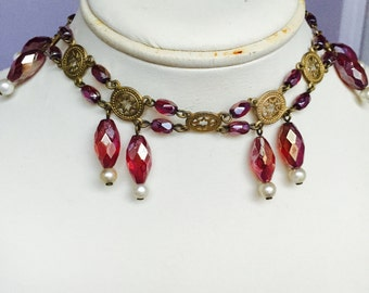 Handmade one of unique vintage Italian glass, fake pearls choker necklace