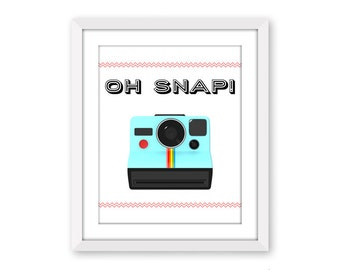 dodidoodles clearance Oh Snap! Printable Art Print, Instant Download Art, Fun Retro Camera Print, Aqua Polaroid photography Dorm Decor