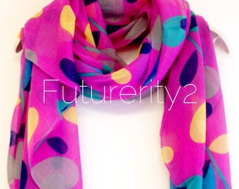 Multi Colour Stem Pink/Purple Summer Scarf Spring Scarf / Gift For Her / Womens Scarves / Fashion Accessories
